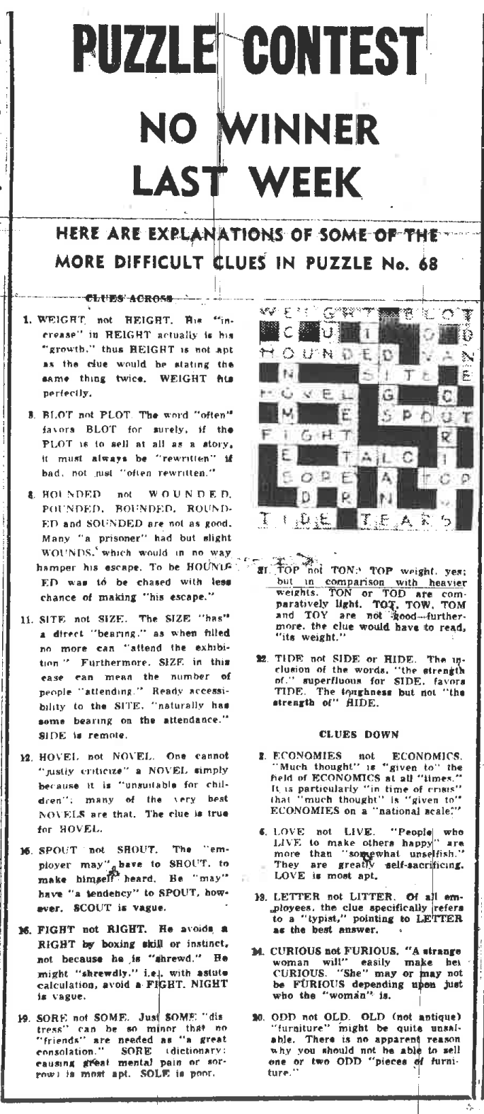 Below are the pictures of the crossword on the page the final crossword and the answer page. Click on them to make them larger.  sc 1 st  Reverend Moonbeam & The final crossword of the Vancouver Daily Herald (1954) and how ... 25forcollege.com
